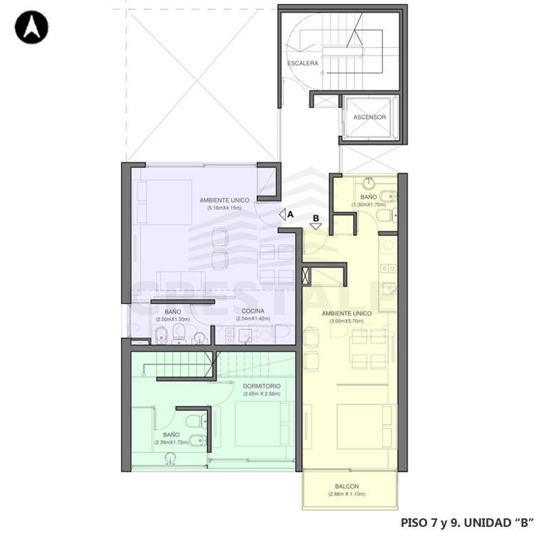 Venta departamento 2 dormitorios Rosario, Centro. Cod 2968. Crestale Propiedades