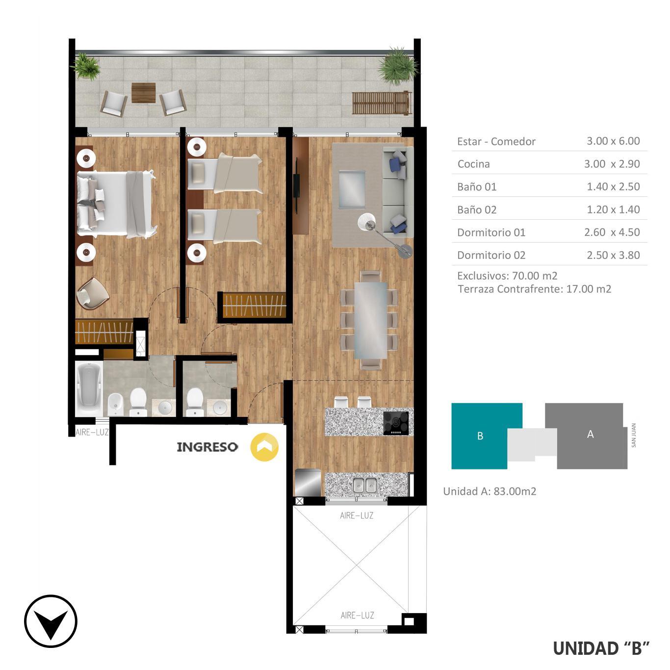 Venta departamento 2 dormitorios Rosario, Lourdes. Cod CBU24479 AP2284044. Crestale Propiedades