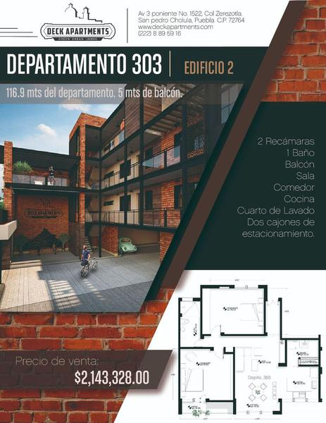 Foto Departamento en Venta en  Santa María Xixitla,  San Pedro Cholula      Departamento en venta - Av. 3 Poniente No. 1522, Col. Zerezotla