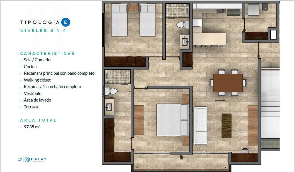 Foto Departamento en Venta en  Cancún Centro,  Cancún  Balay Residencial, Pre-venta departamento Tipo F (YR)
