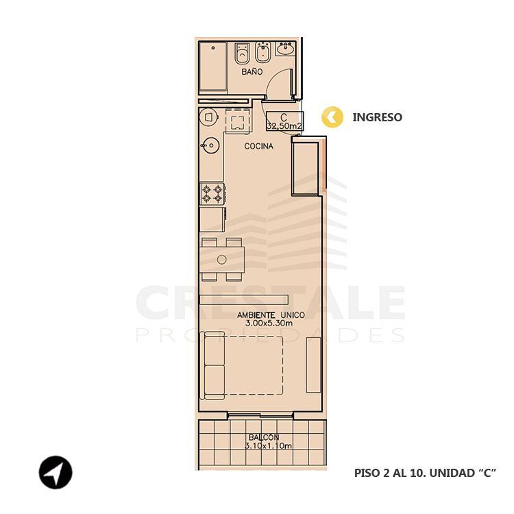 Venta departamento monoambiente Rosario, Echesortu. Cod 1054. Crestale Propiedades
