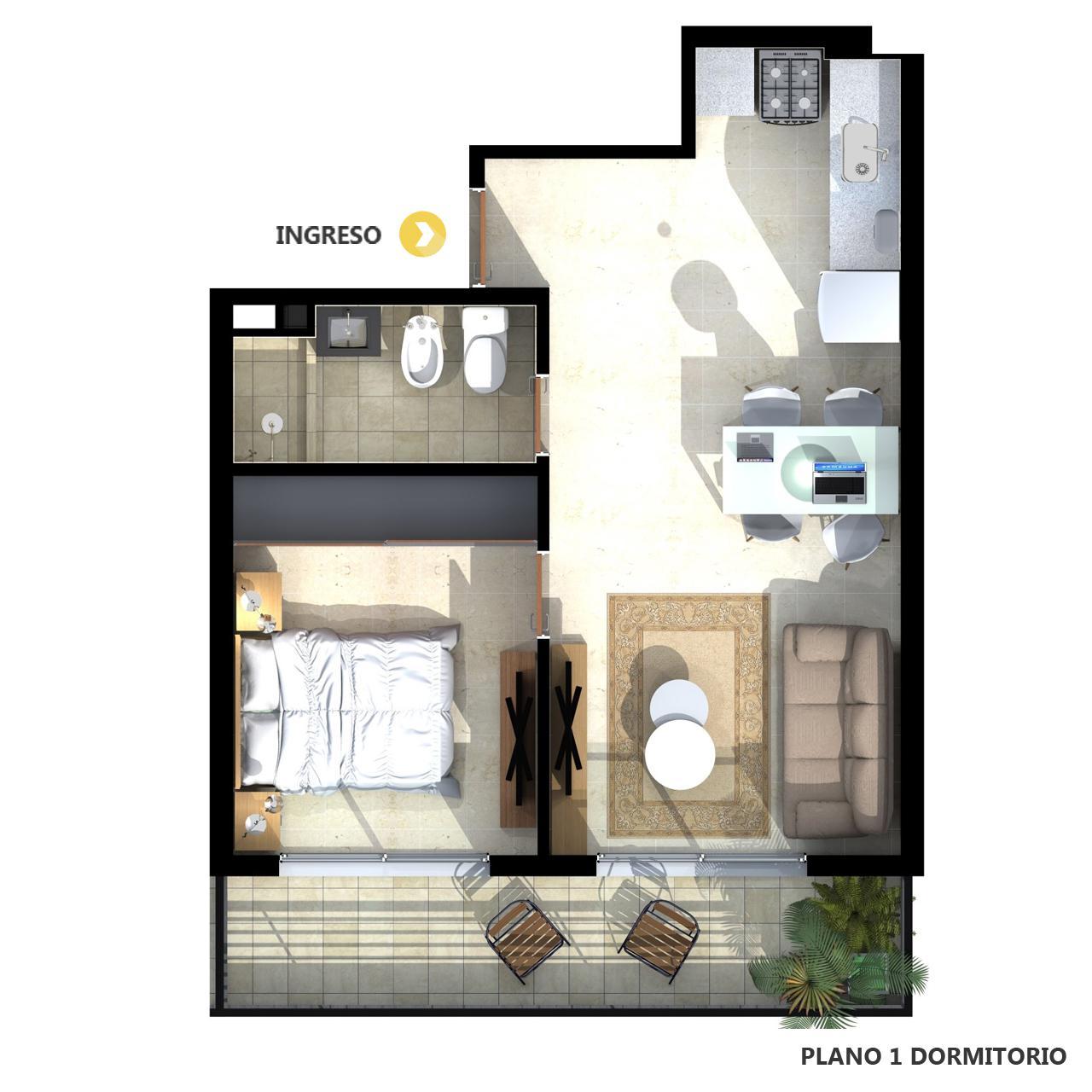 Venta departamento 1 dormitorio Rosario, Parque España. Cod CBU12472 AP2199488. Crestale Propiedades