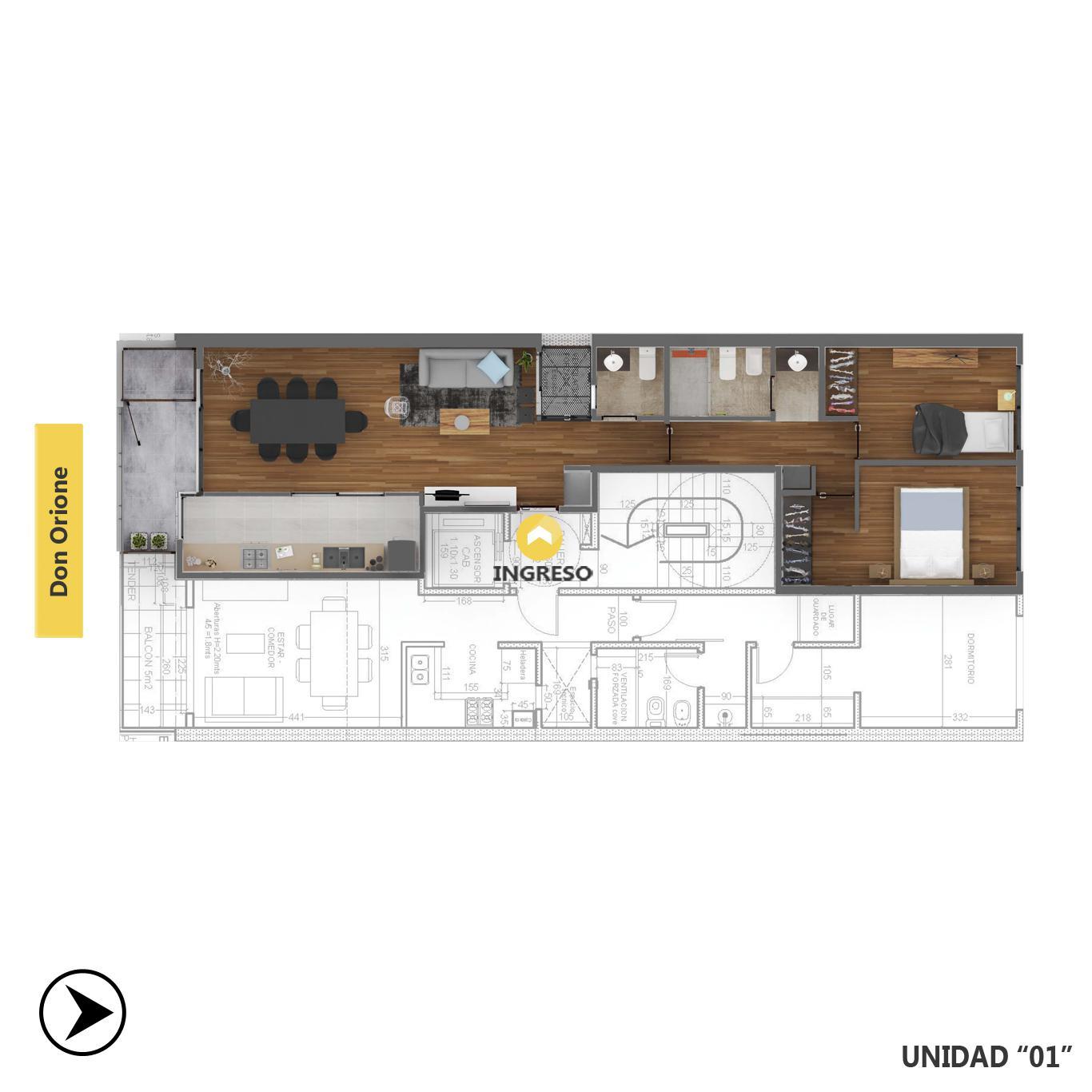 Venta departamento 2 dormitorios Rosario, Puerto Norte. Cod CBU23612 AP2220154. Crestale Propiedades