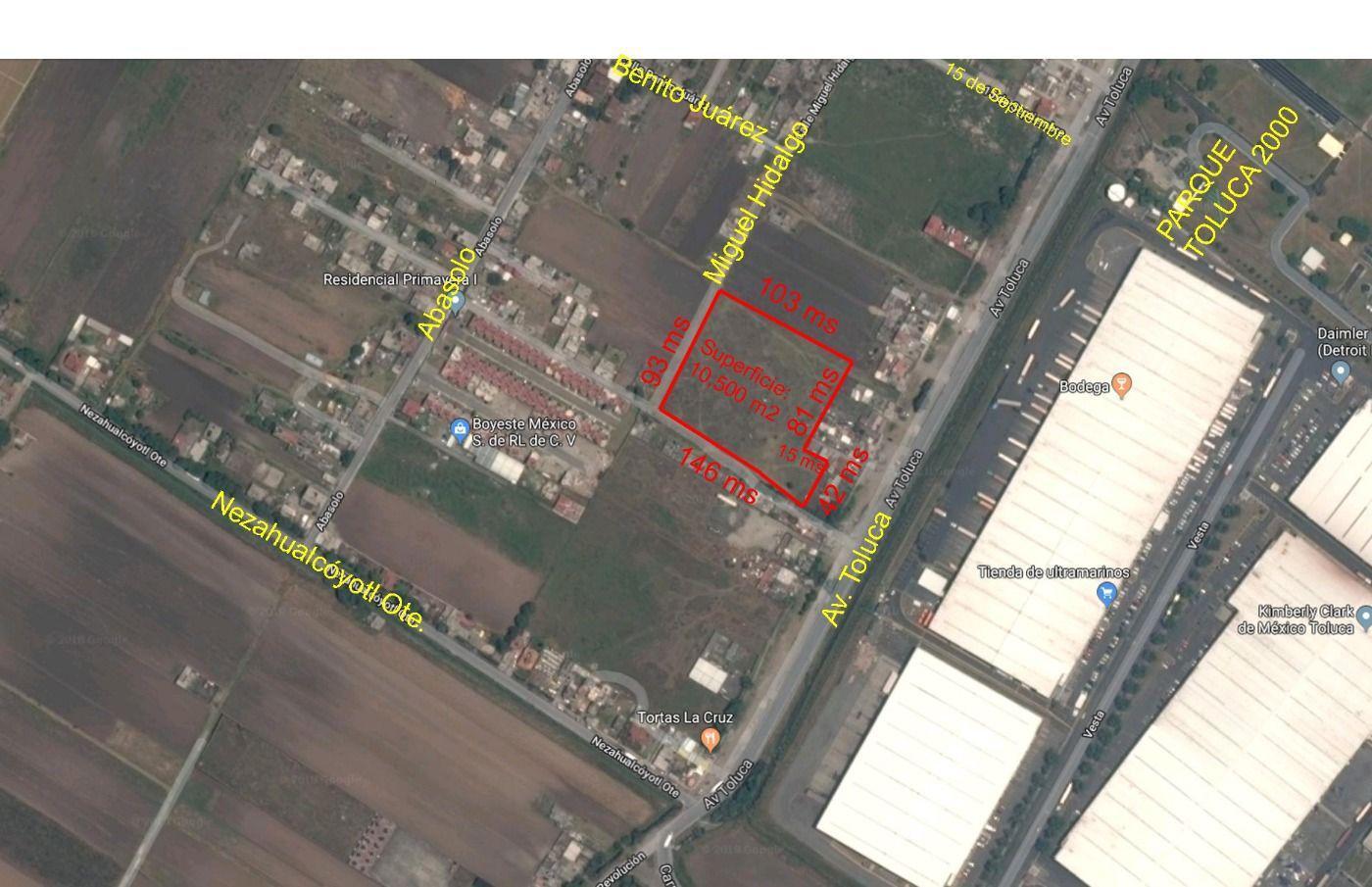 FotoTerreno en Venta |  en  Guadalupe,  Toluca  Venta de Terreno atrás del parque Toluca 2000, 10,500 m2 ,uso suelo CRU-150 mixto