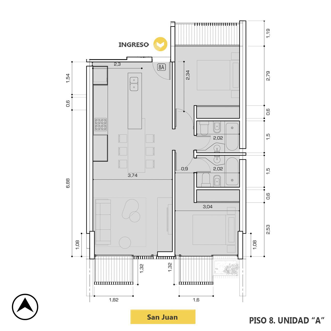 Venta departamento 2 dormitorios Rosario, Centro. Cod CBU23237 AP2198901. Crestale Propiedades