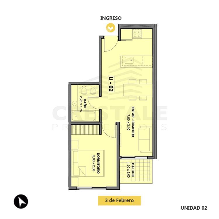 Venta departamento 1 dormitorio Rosario, Echesortu. Cod 1466. Crestale Propiedades