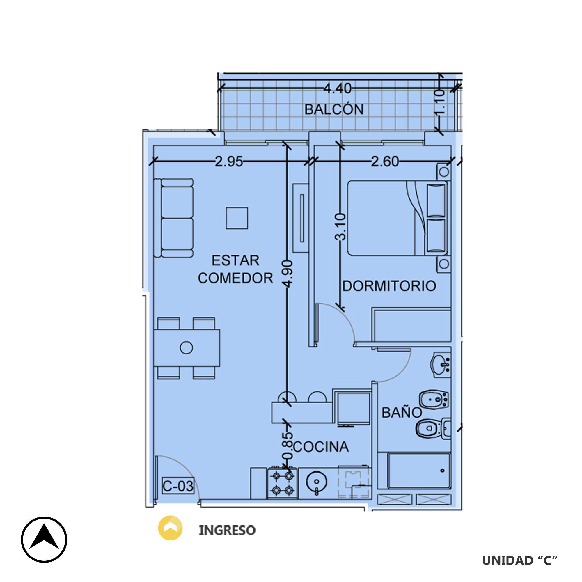 Venta departamento 1 dormitorio Rosario, Centro. Cod CBU20383 AP2004668. Crestale Propiedades