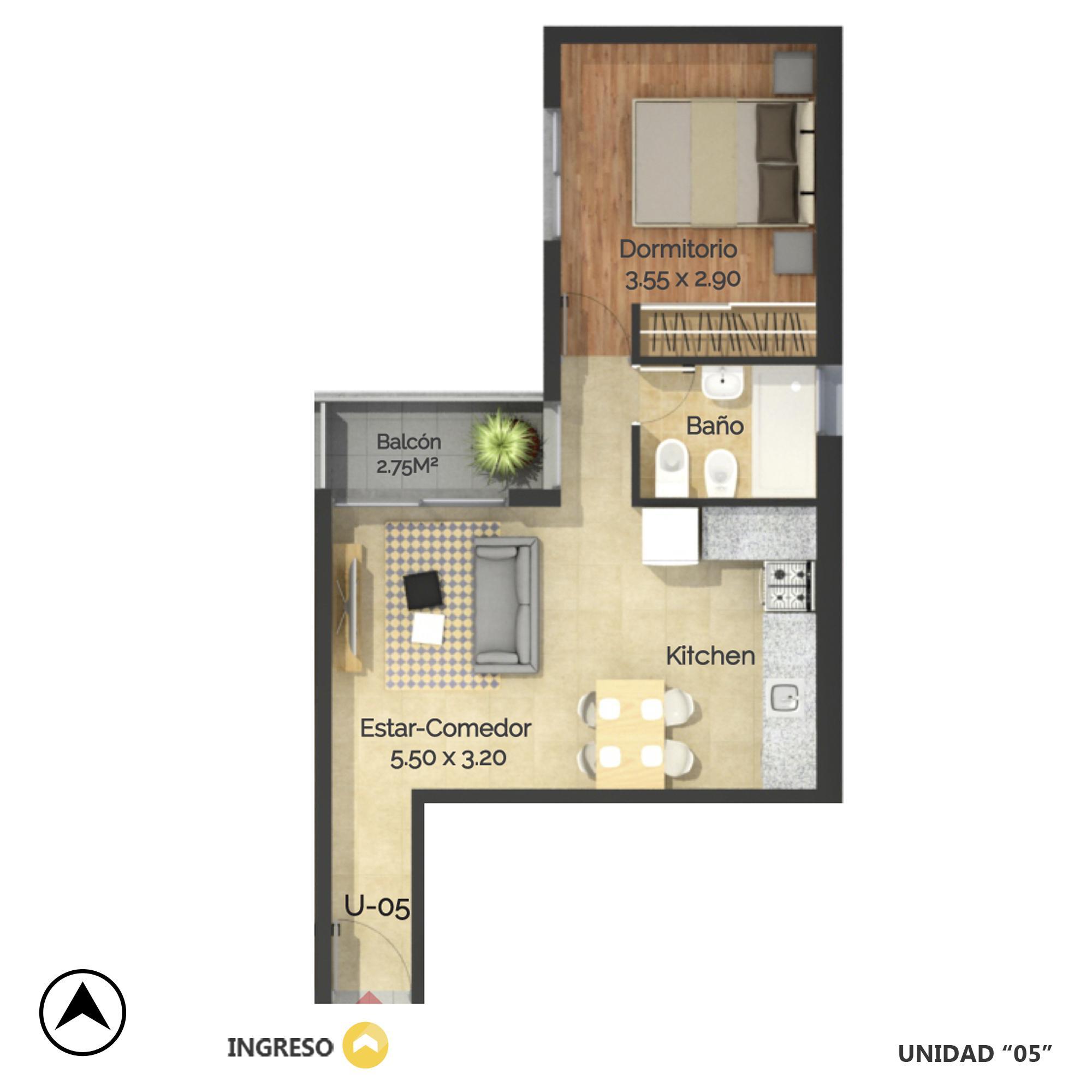 Venta departamento 1 dormitorio Rosario, Oeste. Cod CBU20758 AP2034918. Crestale Propiedades