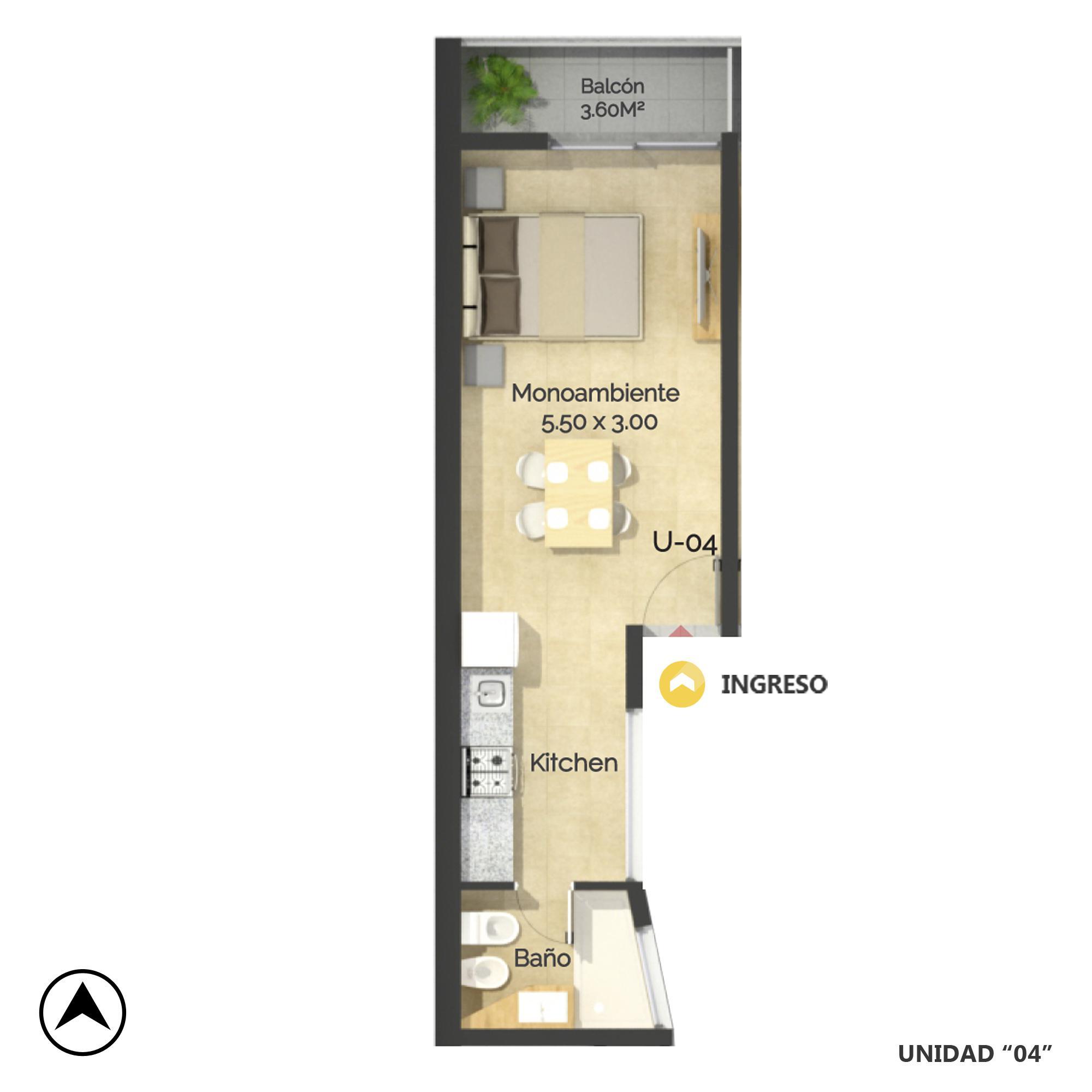 Venta departamento monoambiente Rosario, Oeste. Cod CBU20758 AP2034870. Crestale Propiedades