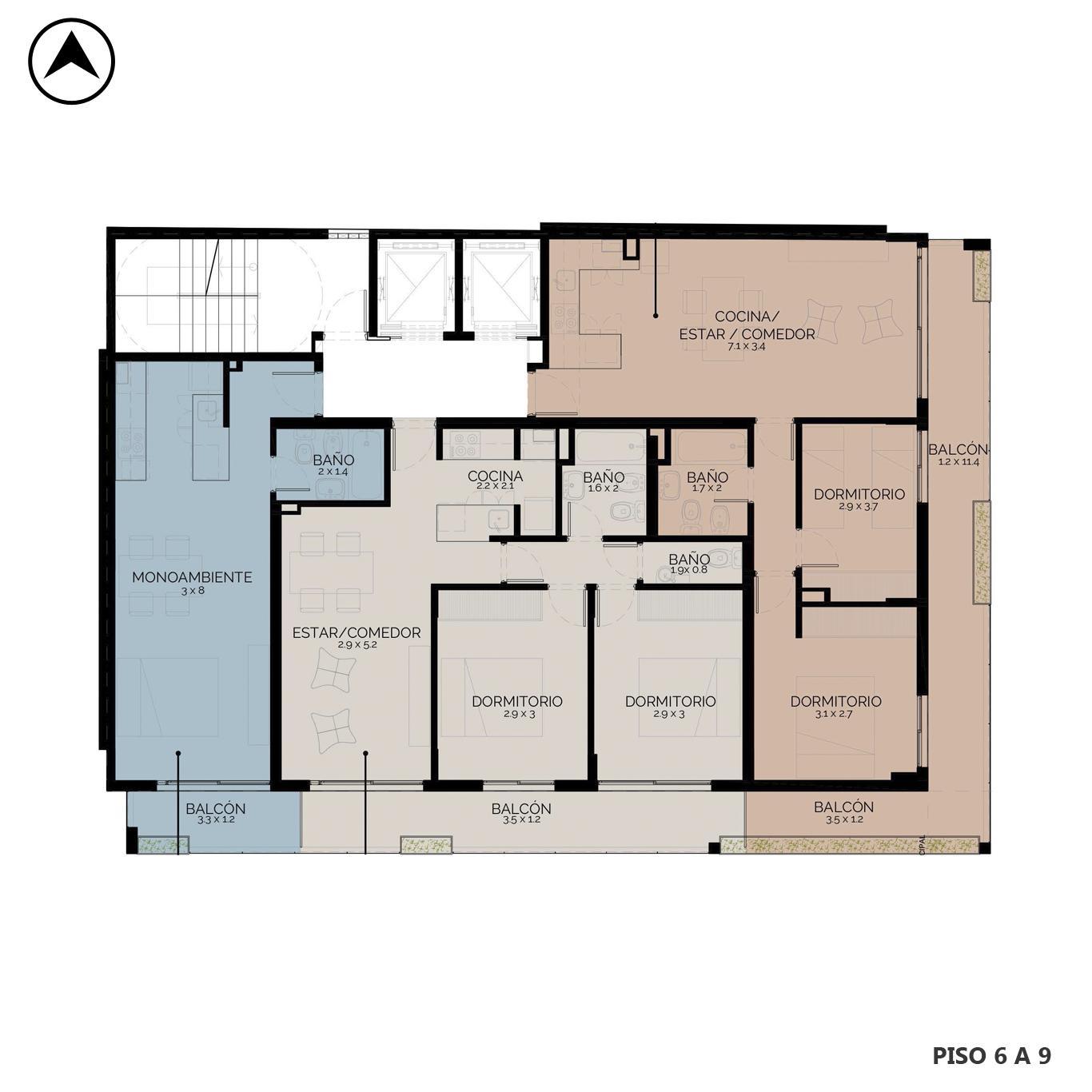 Venta departamento 2 dormitorios Rosario, República De La Sexta. Cod CBU24834 AP2314120. Crestale Propiedades