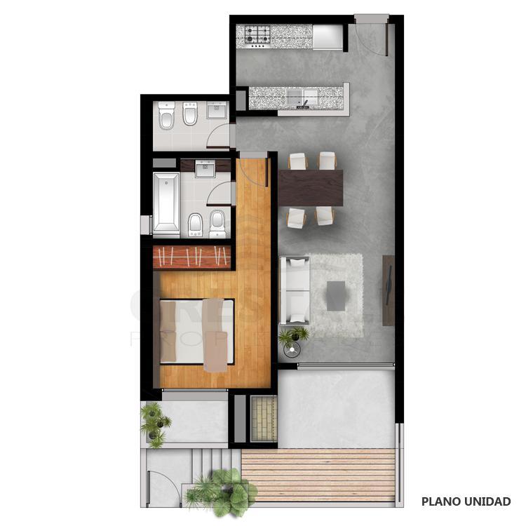 Venta departamento 1 dormitorio Funes, Funes. Cod CBU23049 AP2207974. Crestale Propiedades