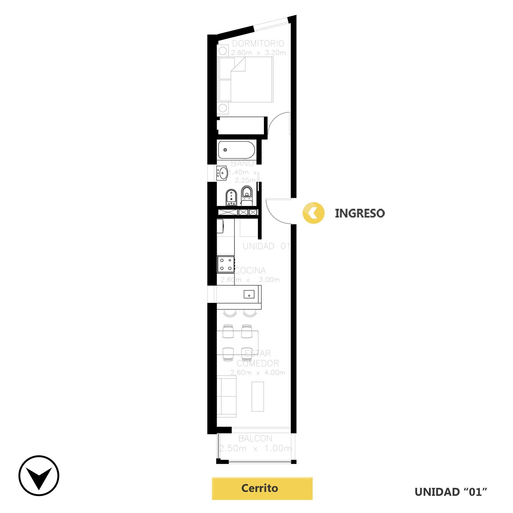 Venta departamento 1 dormitorio Rosario, Barrio La Siberia. Cod CBU20519 AP2018388. Crestale Propiedades