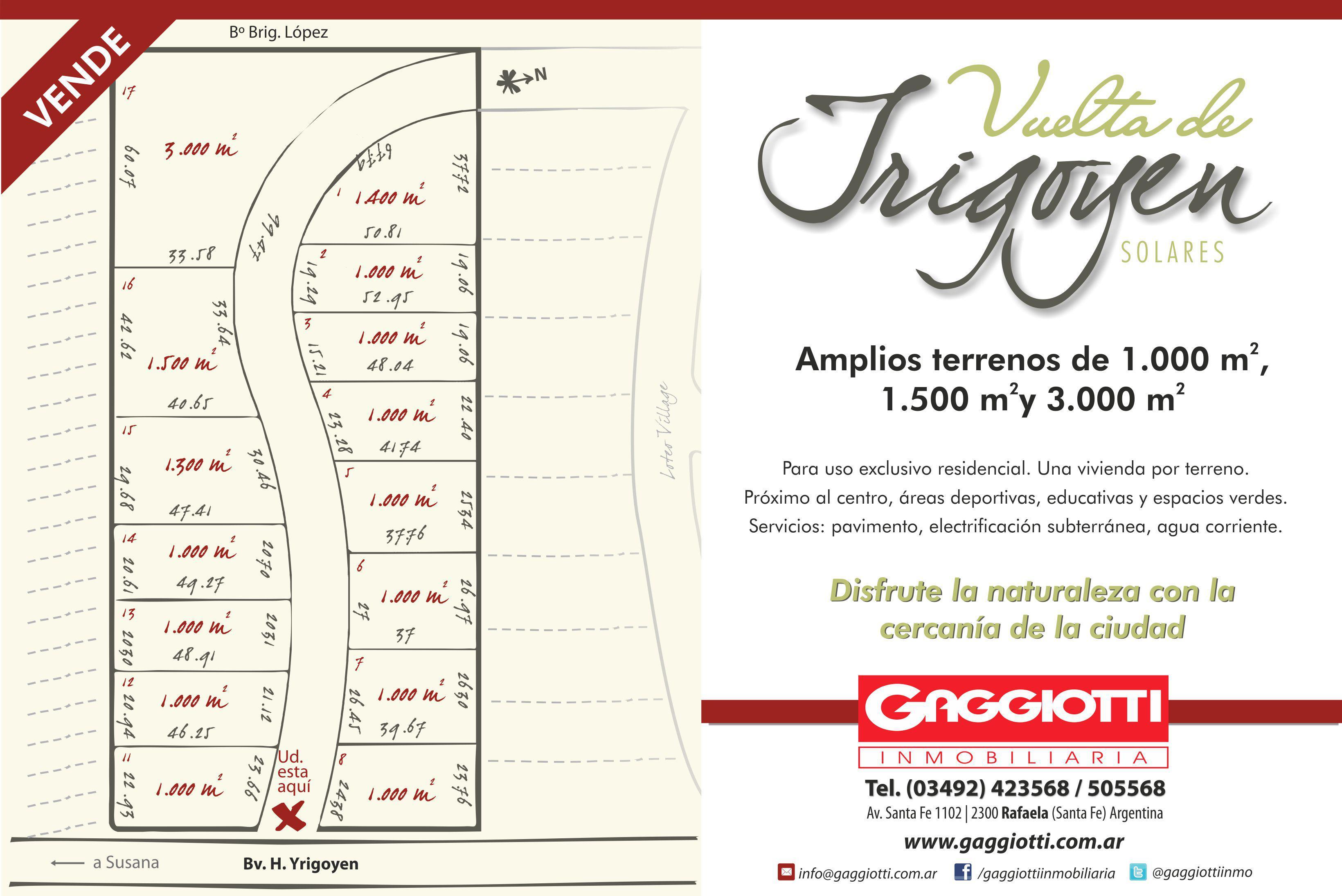 Loteo Vueltas de Yrigoyen - Gaggiotti Inmobiliaria cuenta con más de 50 años desde que se inicio en el negocio de los servicios inmobiliarios.