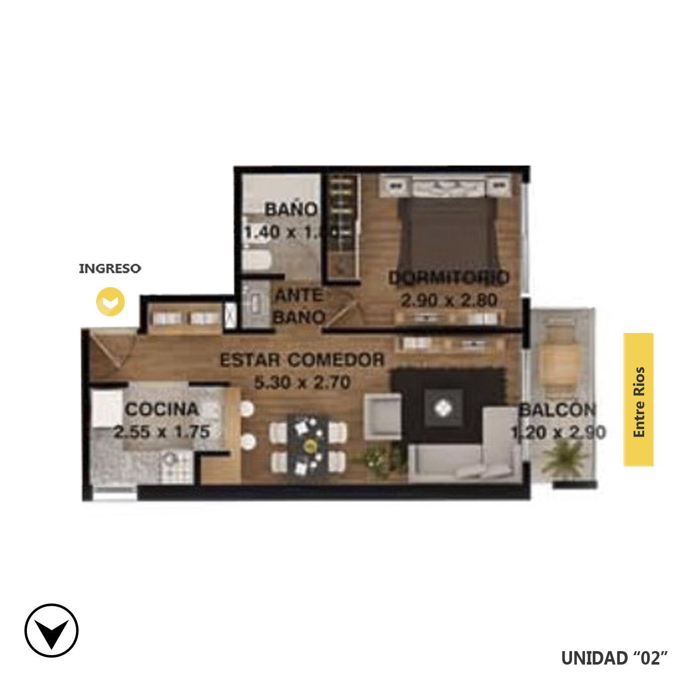 Venta departamento 1 dormitorio Rosario, . Cod CBU7707 AP2209208. Crestale Propiedades