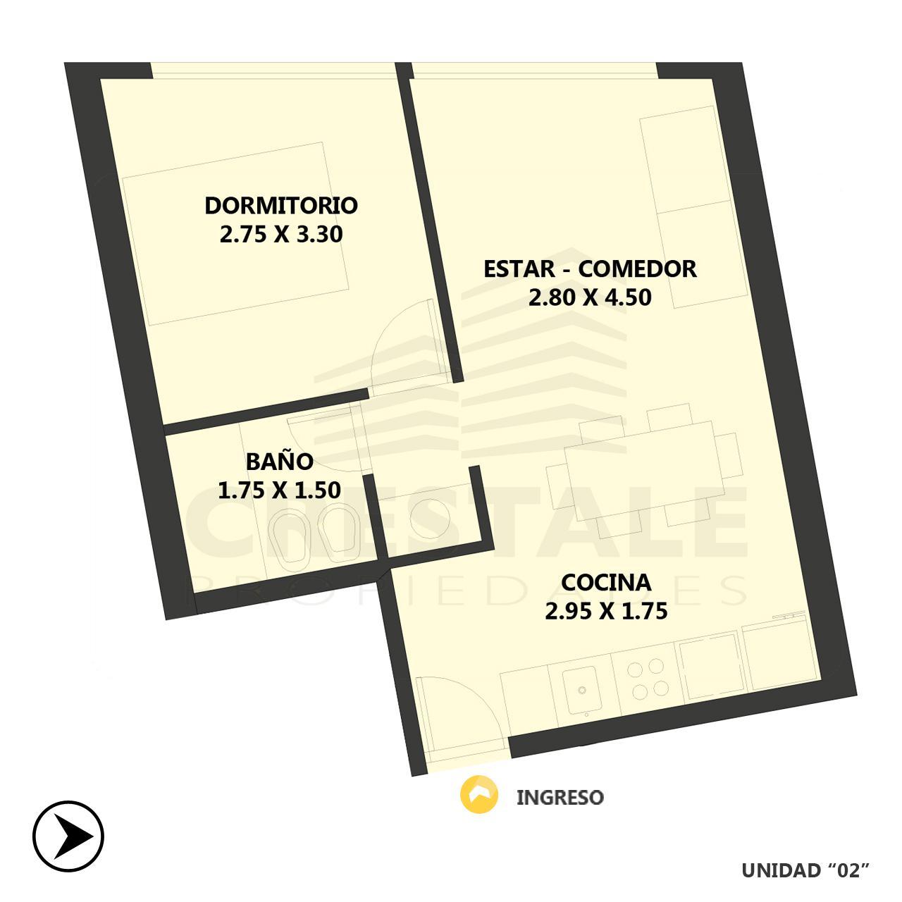 Venta departamento 1 dormitorio Rosario, Centro. Cod 4535. Crestale Propiedades