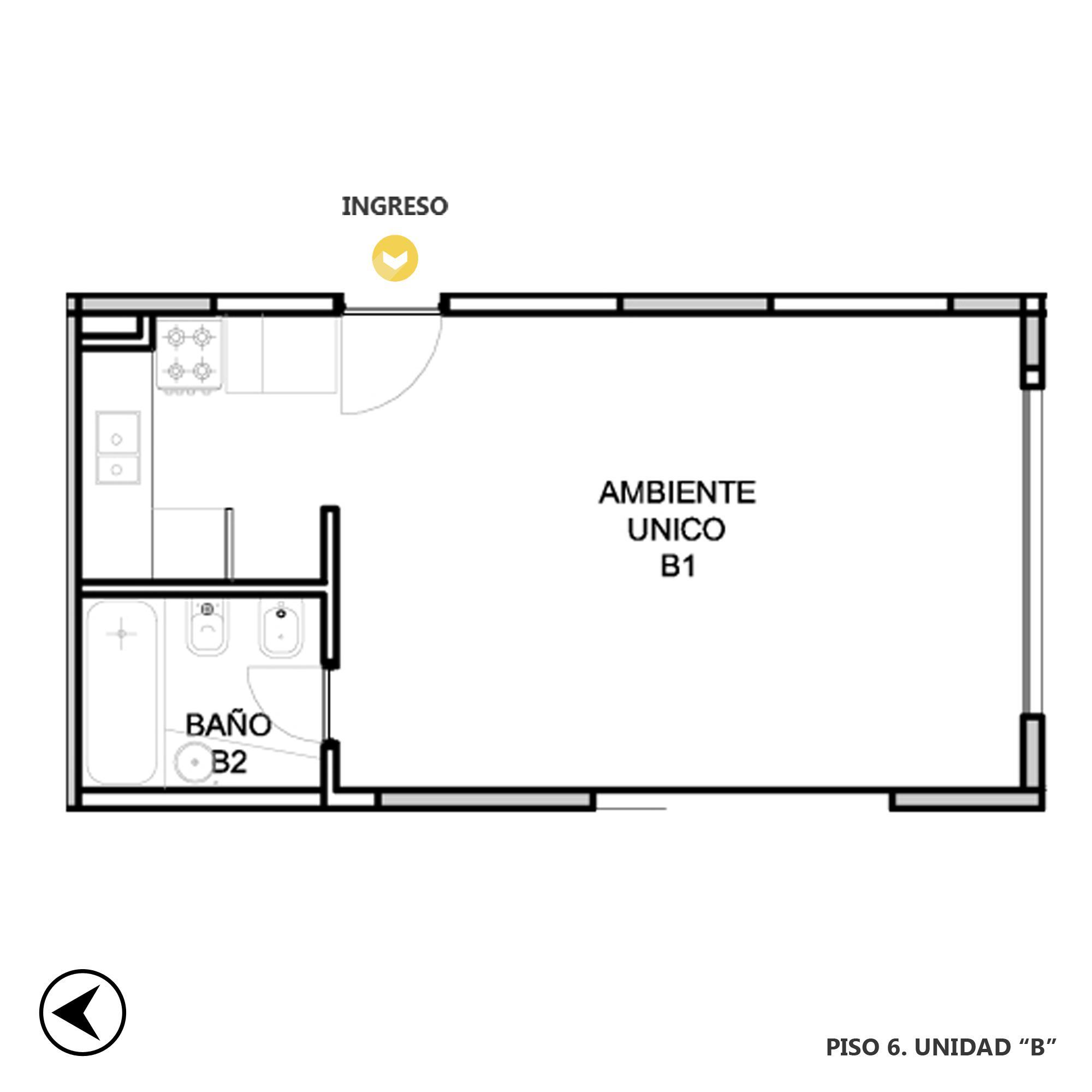 Venta departamento monoambiente Rosario, Abasto. Cod CBU20406 AP2008503. Crestale Propiedades