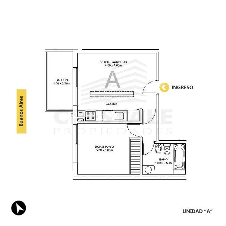 Venta departamento 1 dormitorio Rosario, Centro. Cod 1503. Crestale Propiedades
