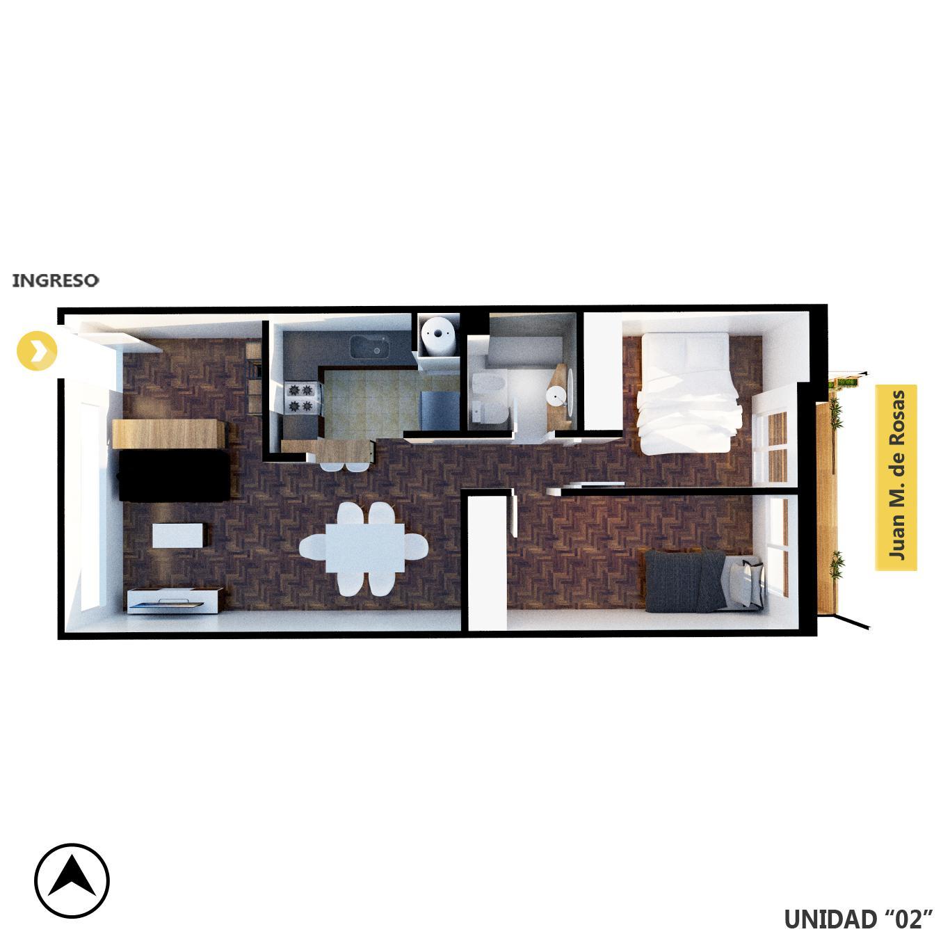 Venta departamento de pasillo 2 dormitorios Rosario, Centro. Cod CPH1145845. Crestale Propiedades