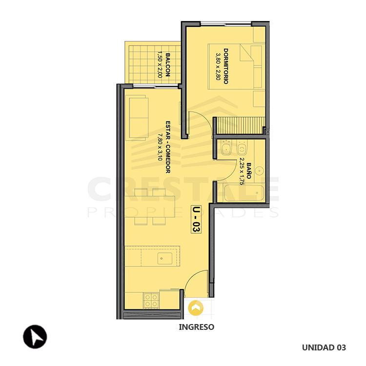 Venta departamento 1 dormitorio Rosario, Echesortu. Cod 1477. Crestale Propiedades