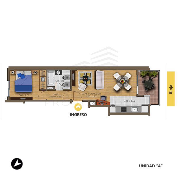 Venta departamento 1 dormitorio Rosario, Echesortu. Cod CBU7711 AP2074155. Crestale Propiedades