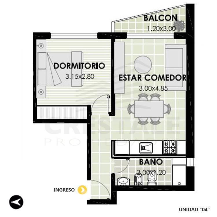 Venta departamento 1 dormitorio Rosario, Centro. Cod 3279. Crestale Propiedades