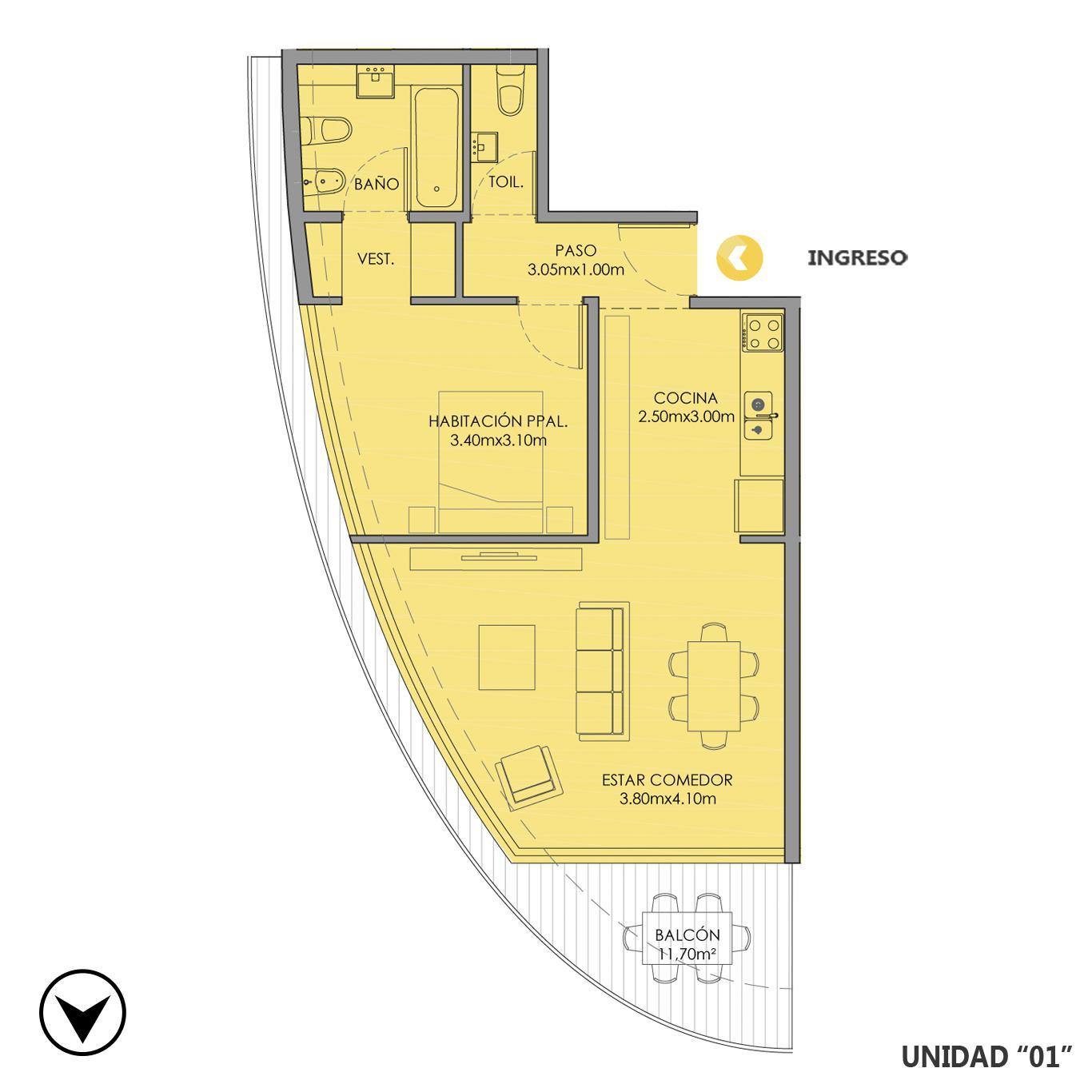 Venta departamento 1 dormitorio Rosario, Centro. Cod CBU23680 AP2227382. Crestale Propiedades