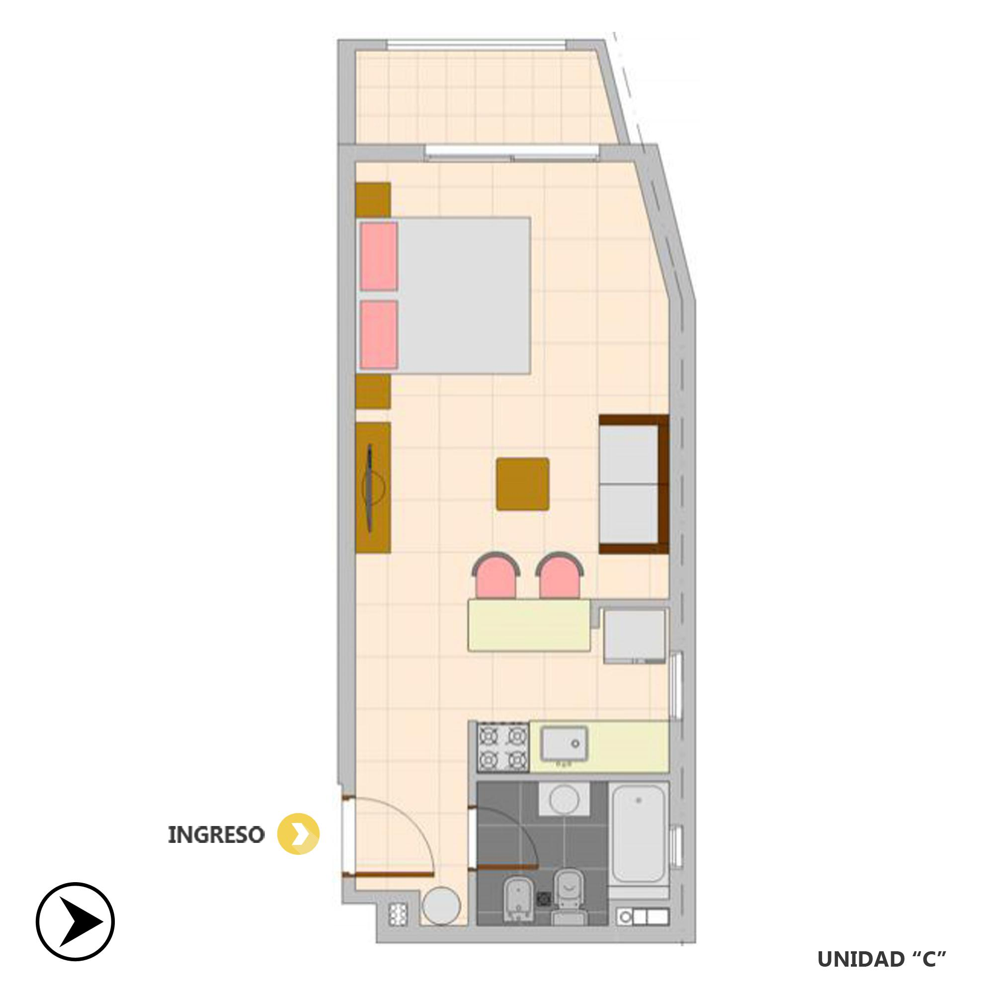 Venta departamento monoambiente Rosario, Oeste. Cod CBU20801 AP2038154. Crestale Propiedades