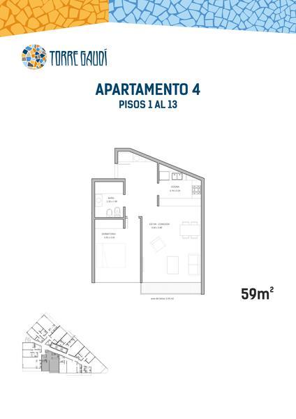 Foto Departamento en Venta en  Punta del Este ,  Maldonado  1 Dormitorio Torre Gaudi en Maldonado (Uruguay)