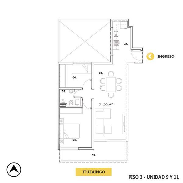 venta departamento 2 dormitorios Rosario, ITUZAINGO Y BUENOS AIRES. Cod CBU12750 AP2513492 Crestale Propiedades