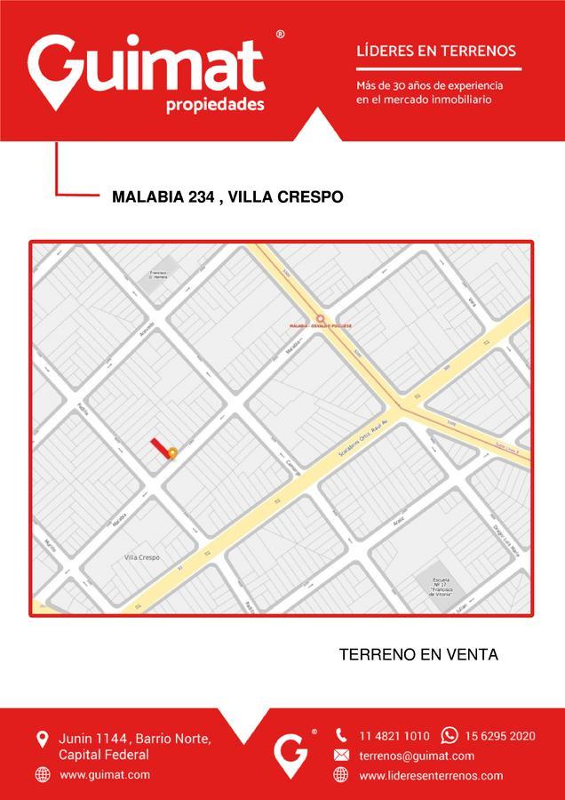 Foto Terreno en Venta en  Villa Crespo ,  Capital Federal  MALABIA al 200