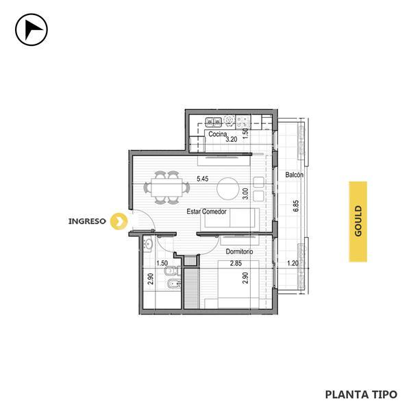 venta departamento 1 dormitorio Rosario, CORDOBA Y GOULD. Cod CBU30302 AP2842318 Crestale Propiedades