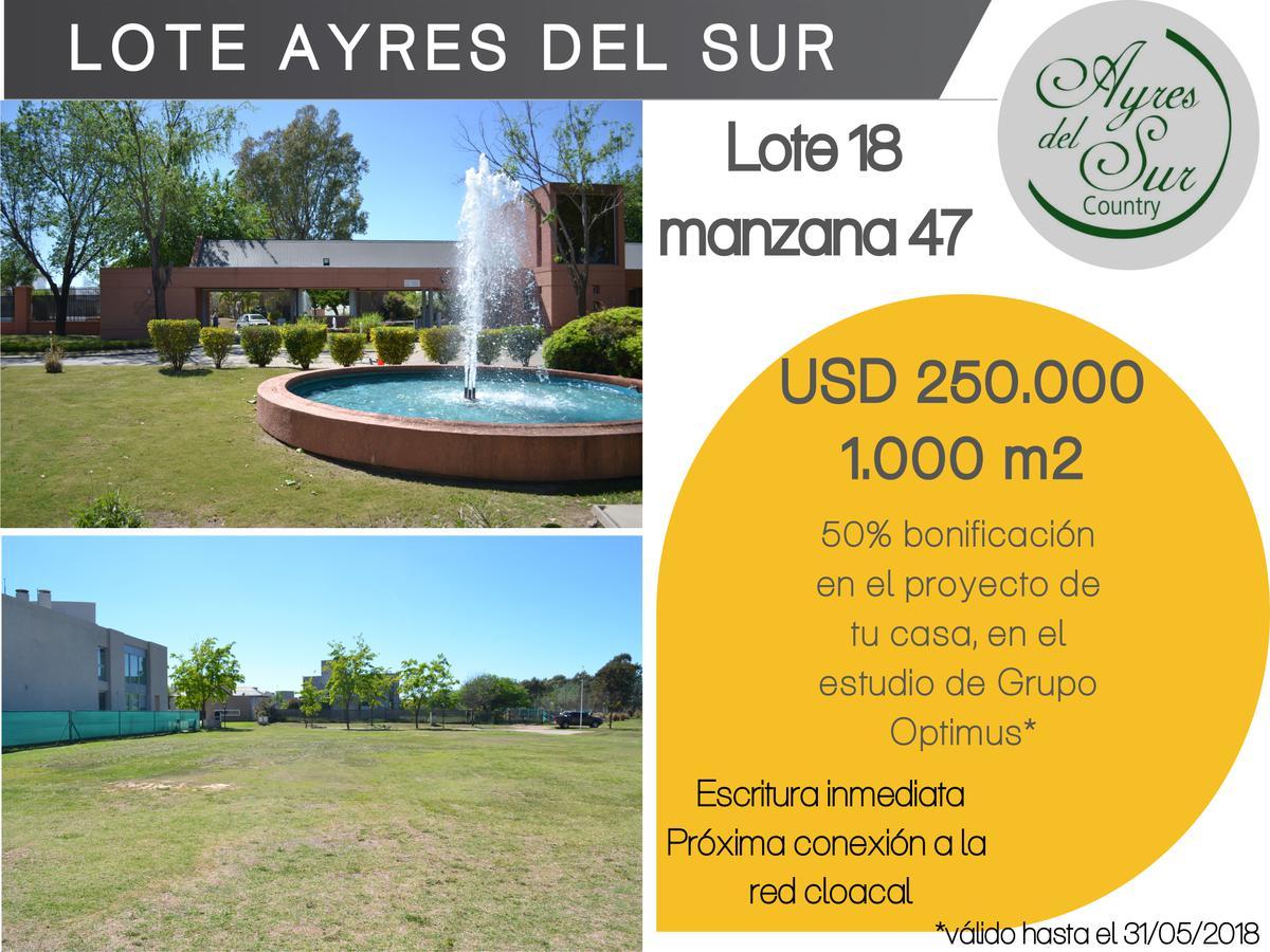 Foto Terreno en Venta en  Ayres del Sur,  Countries/B.Cerrado (Cordoba)  EXCLUSIVO LOTE --AYRES DEL SUR -- 1000 M2!!!