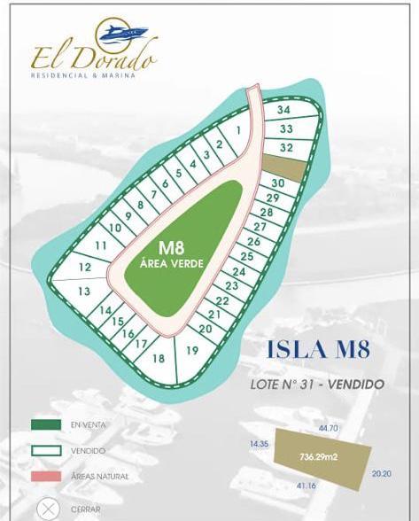 Foto Terreno en Venta en  El Dorado Residencial & Marina,  Boca del Río  EL DORADO, Terreno en VENTA de 736.29 m2 frente al canal principal