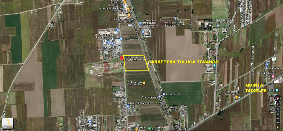 Foto Terreno en Venta en  San Andrés Ocotlán,  Calimaya  VENTA DE TERRENO HABITACIONAL/COMERCIAL 5000 M2 EN LA CARRETERA TOLUCA-TENANGOEN CALIMAYA
