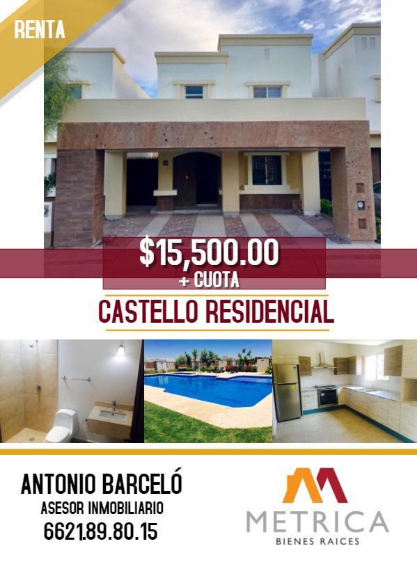 Foto Casa en Renta en  Residencial Villa de Los Corceles,  Hermosillo  CASA RENTA CASTELLO RESIDENCIAL