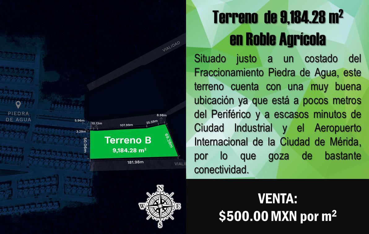 Foto Terreno en Venta en  Fraccionamiento Roble Agrícola,  Mérida  Terreno de 9,184.28 m2 en Fracc. Roble Agrícola, Mérida