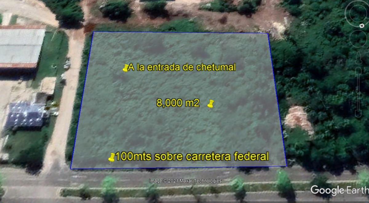 Foto Terreno en Venta en  Chetumal ,  Quintana Roo  TERRENO EN VENTA 100 MTS  DE FRENTE  A LA ENTRADA DE CHETUMAL