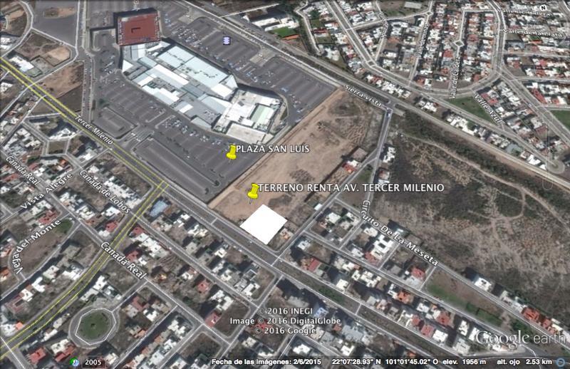 Foto Terreno en Renta en  Lomas del Tecnológico,  San Luis Potosí  TERRENO COMERCIAL EN RENTA A UN COSTADO DE PLAZA SAN LUIS