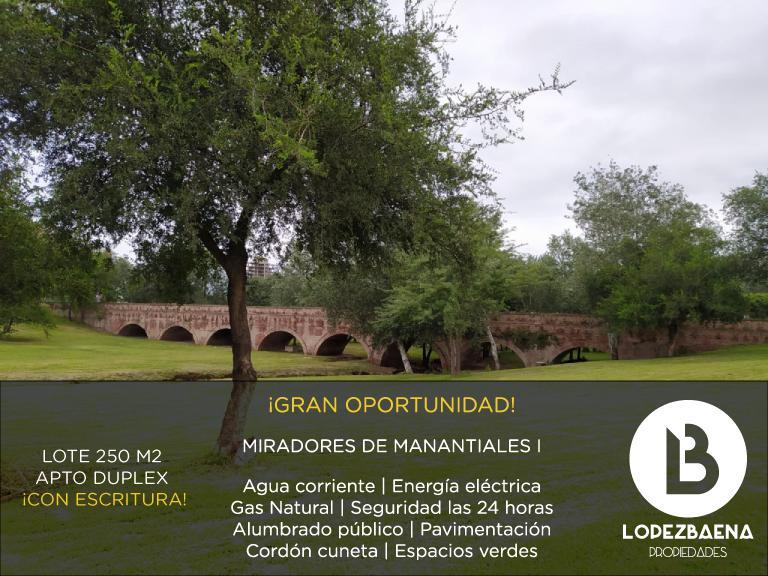 Foto Terreno en Venta en  Miradores de Manantiales,  Cordoba Capital  LOTE APTO DUPLEX  CON ESCRITURA | Miradores de Manantiales 1