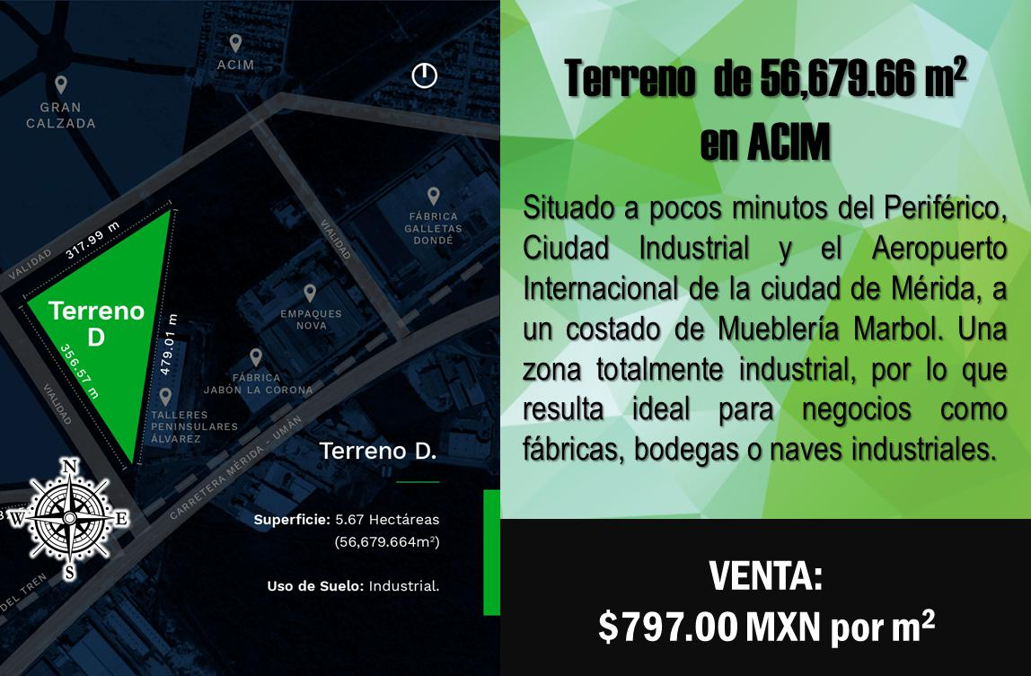 Foto Terreno en Venta en  Accim,  Umán  Terreno de 5.6 hectáreas en ACIM, Mérida (Zona Industrial).