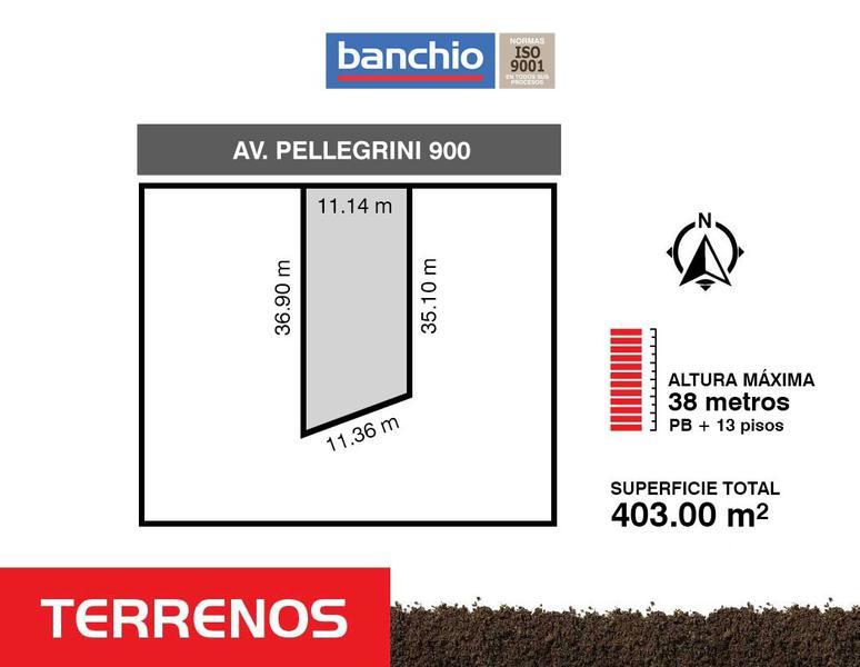 Av. Pellegrini al 900, Rosario, Santa Fe. Venta de Terrenos - Banchio Propiedades. Inmobiliaria en Rosario