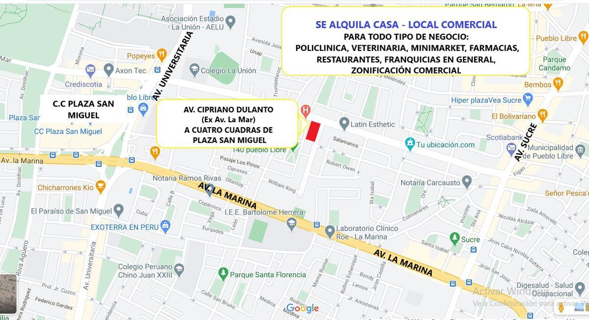 Foto Local en Alquiler en  Pueblo Libre,  Lima  Avenida Avenida cipriano dulanto (ex av. La mar)