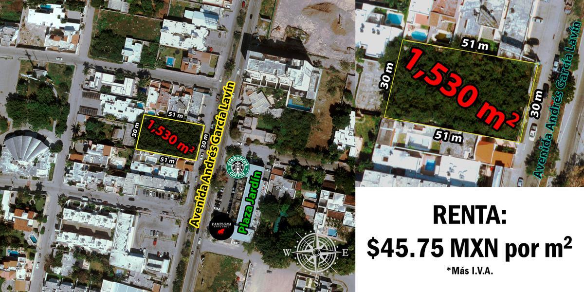 Foto Terreno en Renta en  San Ramon Norte,  Mérida  Terreno de 1530 m2 en renta sobre Av. García Lavín