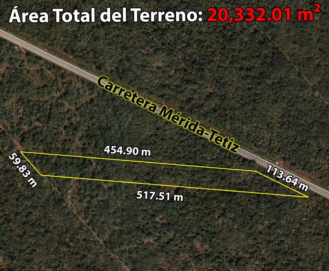Foto Terreno en Venta en  Pueblo Chalmuch,  Mérida  Terreno de 2.03 Hectáreas En Carretera Mérida-Tetiz