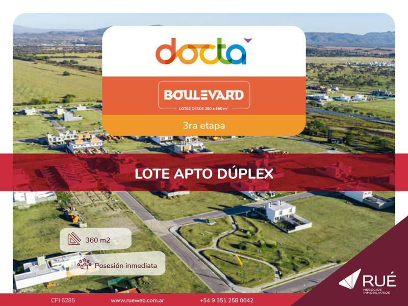 Foto Terreno en Venta en  Docta,  Cordoba Capital  Lote de 360 m2 en venta en Docta. Etapa 3. Apto dúplex.