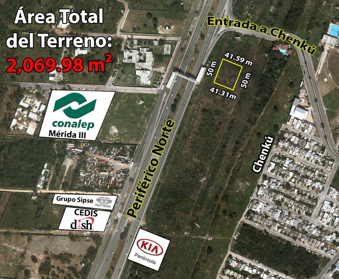 Foto Terreno en Venta en  Fraccionamiento Residencial Del Bosque Chenku,  Mérida  Terreno De 2,069.98 m2 En Periférico Entrada A Chenkú