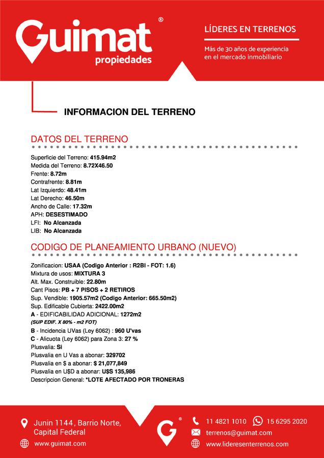 Foto Terreno en Venta en  Villa Crespo ,  Capital Federal  Julian Alvarez al 1000