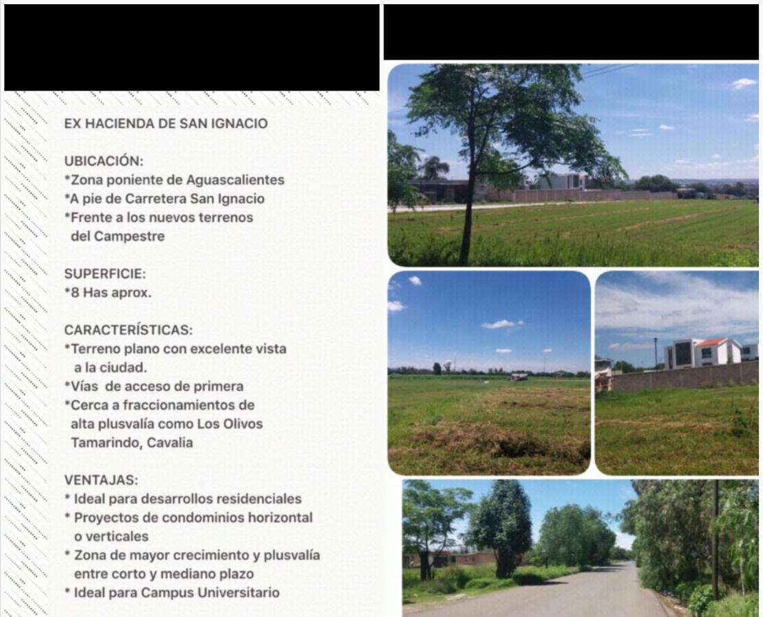 Foto Terreno en Venta en  Rancho o rancheria Ex Hacienda San Ignacio,  Aguascalientes  Venta de terreno en Ex hacienda San Ignacio