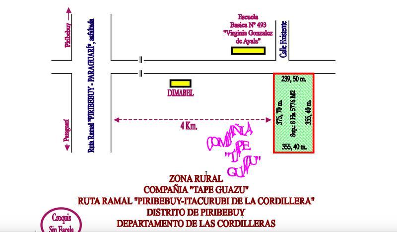 Foto Terreno en Venta en  Piribebuy,  Piribebuy  Piribebuy, Compañía Tapé Guazú
