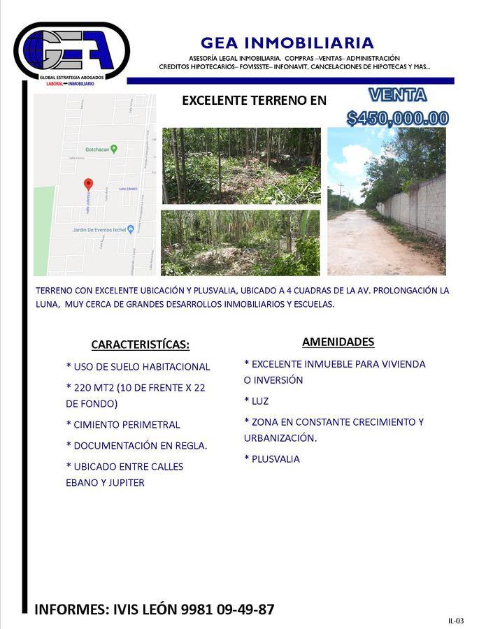 Foto Terreno en Venta en  Cancún,  Benito Juárez  TERRENO EN VENTA UBICADO EN Calle JUPITER